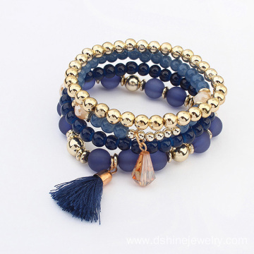 Good Quality for Gold Tassel Bracelet Colorful Beads Elastic Multi Layer Chain Women Bracelets export to Qatar Factory